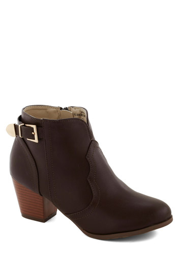 Garage Band Together Bootie in Brown - Mid, Faux Leather, Brown, Solid, Buckles, Minimal, Variation