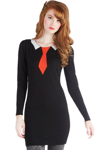 Formal Approach Tunic - Black, Red, White, Long Sleeve, Better, Long, Knit, Quirky, Fall, Scoop, Novelty Print, Black, Long Sleeve
