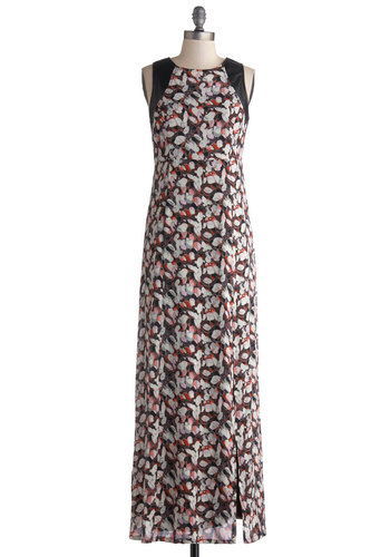 Petal Promenade Dress by Tulle Clothing - Pink, Grey, White, Print, Party, Maxi, Sleeveless, Better, Crew, Long, Chiffon, Faux Leather, Woven, Multi