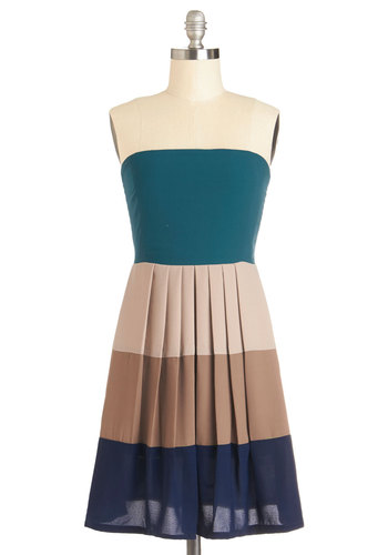 Shoreline of Vision Dress - Short, Woven, Green, Blue, Tan / Cream, Stripes, Pleats, Party, A-line, Strapless, Good, Multi, Exposed zipper, Colorblocking