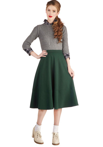 Green Living Consultant Skirt - Long, Knit, Green, Solid, Casual, Vintage Inspired, 50s, Minimal, Exclusives, Ballerina / Tutu, Green, Midi