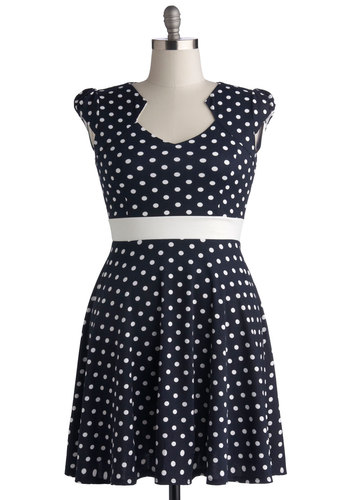The Story of Citrus Dress in Navy Dots - Plus Size - Knit, Blue, White, Polka Dots, Casual, A-line, Cap Sleeves, Good
