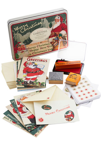 Reindeer to Your Heart Stationery Set by Cavallini & Co. - Holiday, Multi, Vintage Inspired, Good