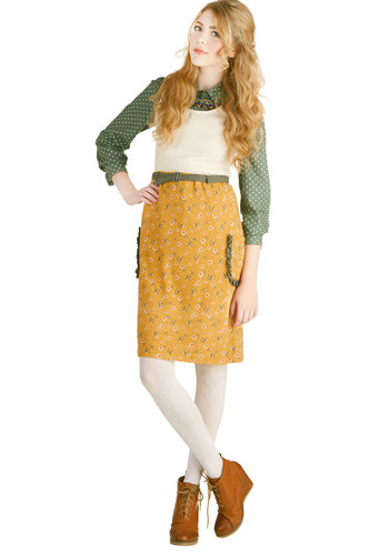 Patch of Honor Skirt - Yellow, Floral, Pockets, Ruffles, Belted, Casual, Good, Knit, Pencil, Yellow, Spring, Fall, Mid-length