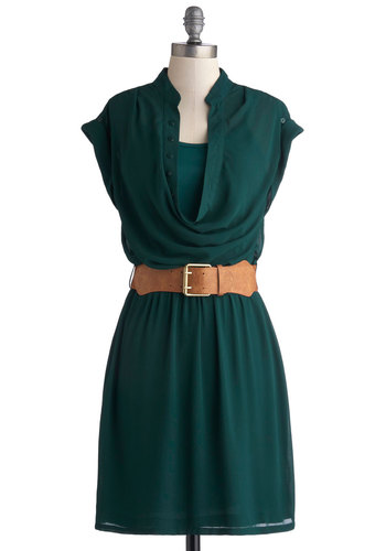 Ask the Anthropologist Dress - Mid-length, Woven, Sheer, Green, Solid, Buttons, Belted, Casual, A-line, Cap Sleeves, Good