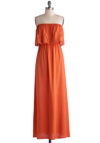 Aussie the Sights Dress - Long, Woven, Orange, Solid, Crochet, Casual, Maxi, Strapless, Good, Beach/Resort, Boho, Vintage Inspired, 70s