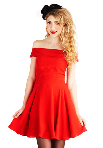 Ready to Be Adorned Dress by Motel - Woven, Short, Red, Solid, Party, A-line, Better, Off the Shoulder, Valentine's
