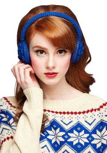 Orinoco Flower Earmuffs - Blue, Solid, Crochet, Flower, Fall, Winter, Good, Knit