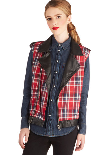 Vinyl Verdict Vest - Mid-length, Cotton, Faux Leather, Woven, Red, Plaid, Pockets, Casual, Vintage Inspired, 90s, Sleeveless, Collared, Multi