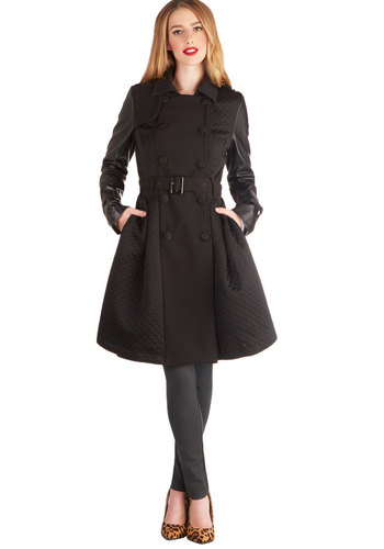 Cloaked in Class Coat - Woven, Faux Leather, Black, Solid, Buttons, Epaulets, Pockets, Quilted, Belted, Urban, Double Breasted, Long Sleeve, Fall, Winter, Black, Long, 3
