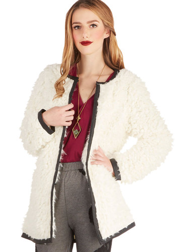 Editing Eye Coat - Faux Leather, Faux Fur, Cream, Solid, Pockets, Long Sleeve, 1, White, Long