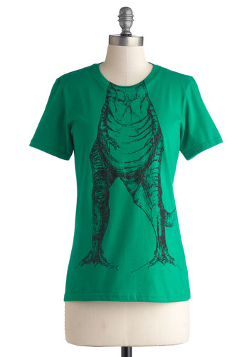 Hear You Roar Tee - Mid-length, Cotton, Knit, Green, Black, Print with Animals, Casual, Quirky, Nifty Nerd, Short Sleeves, Crew, Green, Short Sleeve