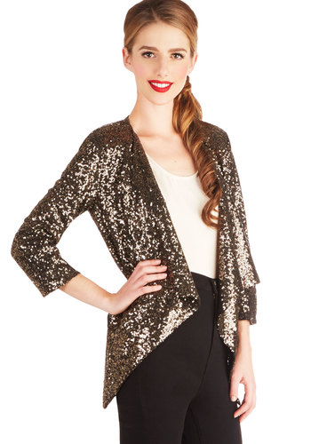Haute Toddies Jacket - 1, Gold, Solid, Sequins, Party, Cocktail, Holiday Party, 3/4 Sleeve, Gold, Mid-length