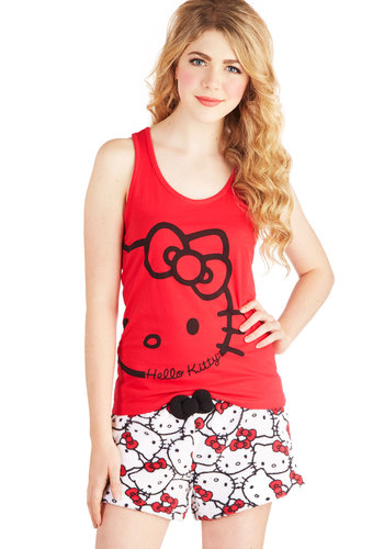 Cat Naptime Sleep Top and Shorts Set - Cotton, Knit, Red, Black, White, Print with Animals, Casual, Kawaii, Cats, Tank top (2 thick straps), Jersey, Scoop