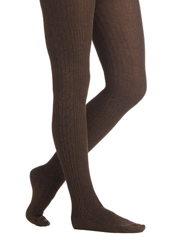 Cover Your Basics Tights in Brown - Knit, Brown, Solid, Casual, Fall, Winter, Better, Variation, Basic