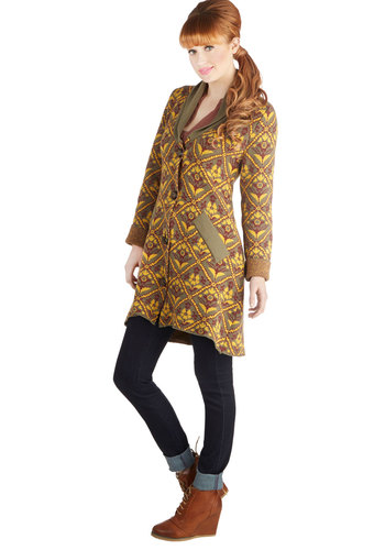 Board Game Day Cardigan by Nick & Mo - Cotton, Knit, Multi, Yellow, Green, Tan / Cream, Print, Buttons, Pockets, Casual, Long Sleeve, Fall, Multi, Long Sleeve