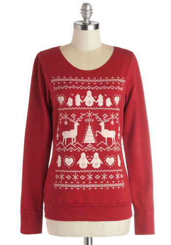 Snuggly Snowflakes Sweatshirt - Red, Print with Animals, Long Sleeve, Best, Mid-length, Cotton, Knit, Novelty Print, Holiday, Scoop, Red, Long Sleeve, Casual, Winter