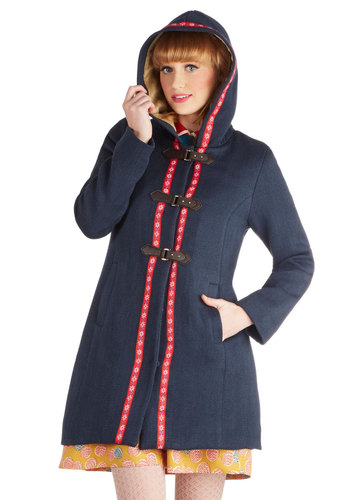 Call of the Styled Coat by Bea & Dot - Private Label, Woven, Long, 3, Blue, Solid, Pockets, Long Sleeve, Winter, Exclusives, Blue