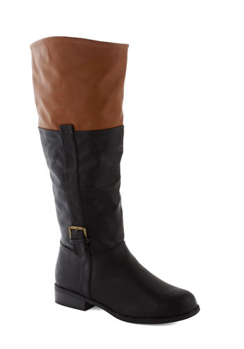 Steadfast Spirit Boot - Black, Tan / Cream, Buckles, Colorblocking, Faux Leather, Low, Fall