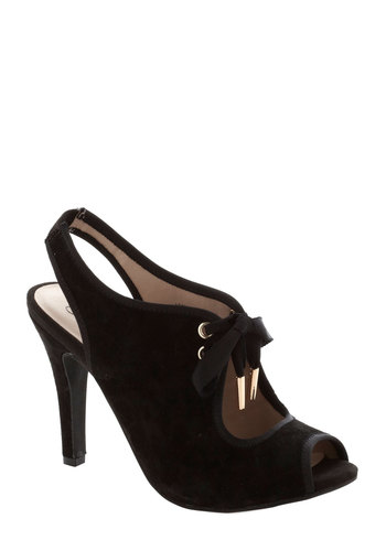 Phenomenon Heel by Seychelles - Black, Solid, Best, Lace Up, Peep Toe, Slingback, High, Leather, Suede, Cutout, Party