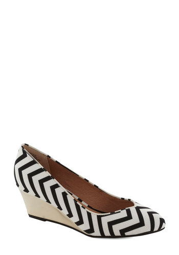 High Hopes Wedge in Chevron by Seychelles - White, Chevron, Daytime Party, Mid, Best, Wedge, Black, Work