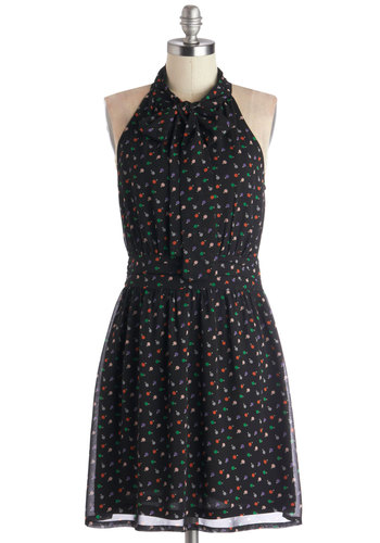 Ornamental Style Dress by Tulle Clothing - Black, Multi, Print, Tie Neck, A-line, Sleeveless, Better, Mid-length, Woven, Pockets, Party