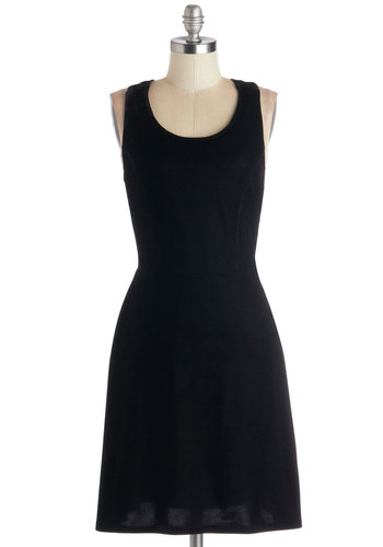 Beyond the Velvet Rope Dress by Tulle Clothing - Black, Solid, Party, Minimal, A-line, Winter, Better, Scoop, Knit, Mid-length, Cutout, Vintage Inspired, 90s, Tank top (2 thick straps)