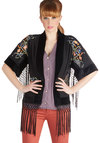 Fringe Fest Favorite Jacket - Long, Sheer, Woven, 1, Black, Floral, Embroidery, Fringed, Vintage Inspired, 20s, 30s, Short Sleeves, Black, Boho