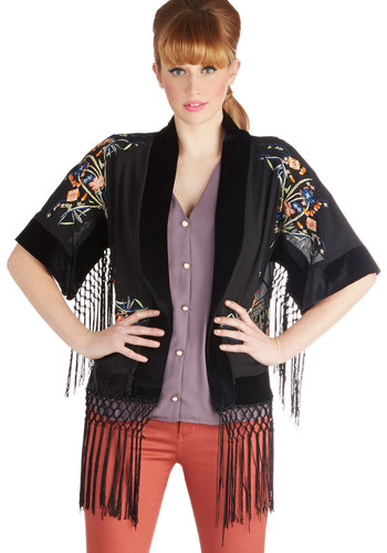 Fringe Fest Favorite Jacket - Long, Sheer, Woven, 1, Black, Floral, Embroidery, Fringed, Vintage Inspired, 20s, 30s, Short Sleeves, Black