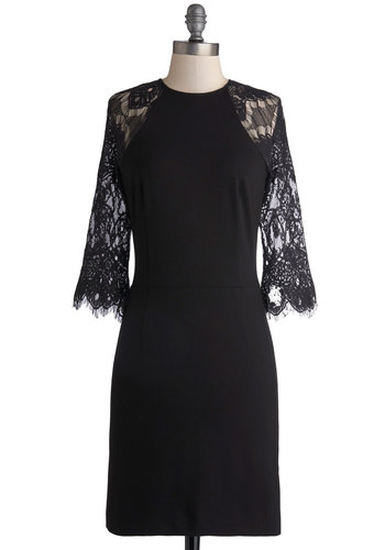 Par Fate Dress by BB Dakota - Sheer, Knit, Black, Solid, Lace, Party, Shift, 3/4 Sleeve, Better, Crew, Cocktail, LBD, Mid-length