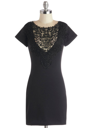Noir Tour Dress - Short, Knit, Sheer, Black, Solid, Crochet, Party, Bodycon / Bandage, Short Sleeves, Good, Girls Night Out, LBD