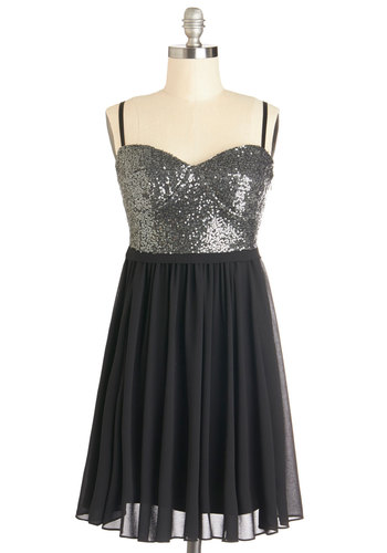 Scene and Sequins Dress - Mid-length, Chiffon, Woven, Black, Silver, Solid, Sequins, Party, Cocktail, A-line, Spaghetti Straps, Sweetheart, Holiday Party