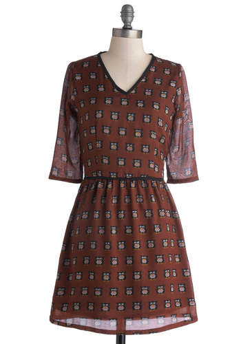 Conservation Starter Dress - Mid-length, Woven, Brown, Multi, Print with Animals, Casual, Owls, A-line, 3/4 Sleeve, Better, V Neck