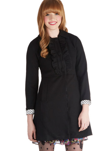 In-House Publisher Coat - 3, Black, Solid, Buttons, Ruffles, Long Sleeve, Fall, Winter, Black, Good, Long