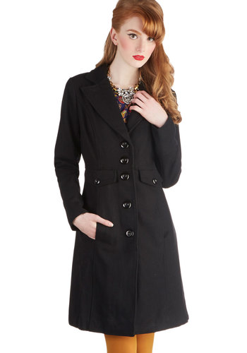 Greetings from Greenwich Coat - Long, 3, Black, Solid, Buttons, Pockets, Long Sleeve, Black