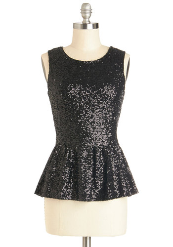 Hide and Sequins Top - Black, Solid, Sequins, Peplum, Sleeveless, Better, Mid-length, Woven, Exposed zipper, Party, Holiday Party, Scoop, Black, Sleeveless