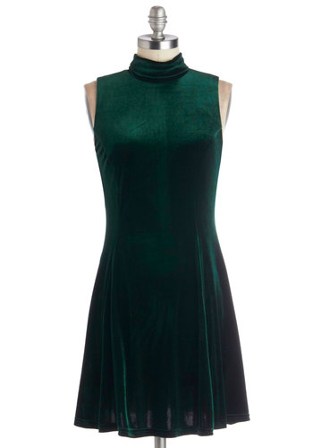 Head to Concerto Dress - Green, Solid, Party, Holiday Party, 90s, Sleeveless, Better, Short, Vintage Inspired, A-line, Winter