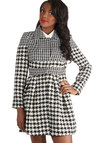 Raincheck Please Coat - Woven, Long, Houndstooth, Pockets, Long Sleeve, Black, Multi, Winter