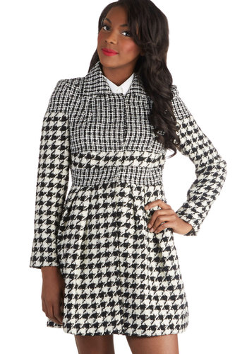 Raincheck Please Coat - Woven, Long, Houndstooth, Pockets, Long Sleeve, Black, Multi