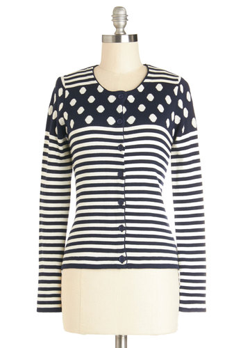 Dots and Stripes Forever Cardigan - Polka Dots, Long Sleeve, Better, Short, Knit, Blue, White, Stripes, Buttons, Casual, Multi, Blue, Long Sleeve