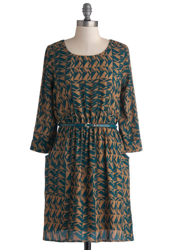 Be My Guest Dress - Print, Belted, Casual, A-line, 3/4 Sleeve, Good, Scoop, Woven, Mid-length, Blue, Tan / Cream, Pockets