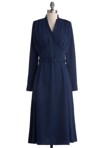 Radio Hour Dress - Blue, Solid, Belted, Casual, Vintage Inspired, Long Sleeve, Better, V Neck, Woven, Long, Work, 40s, A-line