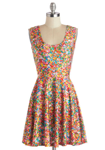 Queen of the Candy Shop Dress - Short, Knit, Multi, Novelty Print, Casual, A-line, Sleeveless, Better, Scoop, Quirky