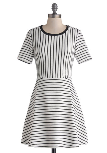 Pittsburgh Ink Line Dress - Stripes, Casual, A-line, Short Sleeves, Good, Scoop, Short, Knit, Black, White, Exposed zipper, 90s