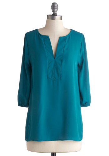 Consultant with Character Top in Teal - Mid-length, Chiffon, Sheer, Woven, Solid, Casual, Minimal, 3/4 Sleeve, Variation, V Neck, Green, Green, 3/4 Sleeve