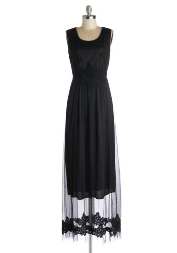 View from the Tower Dress - Black, Solid, Crochet, Party, Maxi, Better, Scoop, Sleeveless, Long, Woven