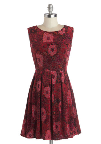 Giving Thanks Dress - Red, Floral, Party, A-line, Sleeveless, Good, Scoop, Pleats, Sheer, Knit, Winter, Short