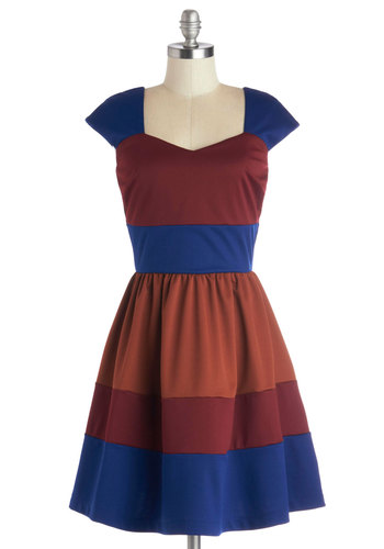 San Francisco Sorbet Dress in Wine - Red, Blue, Brown, Casual, A-line, Cap Sleeves, Better, Colorblocking, Exclusives, Knit, Show On Featured Sale, Mid-length