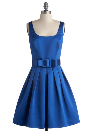 Sapphire Stunner Dress - Blue, Solid, Pleats, Belted, Special Occasion, Bridesmaid, Fit & Flare, Tank top (2 thick straps), Best, Scoop, Bows, Satin, Woven, 60s, Prom, Wedding