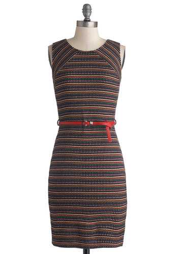 Ciao or Never Dress - Multi, Stripes, Belted, Casual, Shift, Sleeveless, Good, Mid-length, Knit, Crew, Fall, Sweater Dress